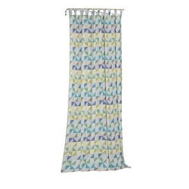 image-Gareth Tab Top Room Darkening Single Curtain Mikado Living Curtain colour: Blue/Green, Size: 145cm H x 132cm W