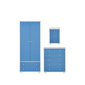 image-Miami Fresh Kids 3 Piece Package - 2 Door, 2 Drawer Wardrobe, 5 Drawer Chest, 3 Drawer Bedside Chest - Blue