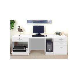 image-Small Office Desk Set With 1+3 Drawers, Printer Shelf & CPU Unit (White)