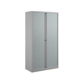 image-Bisley Economy Tambour Cupboard, 100wx47dx199h (cm), Grey, Free Delivered & Fully Installed Delivery