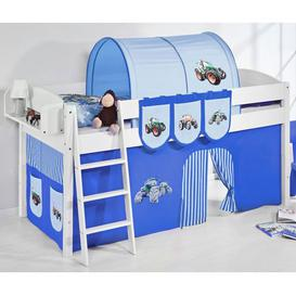 image-Lilla Children Bed In White With Tractor Blue Curtains