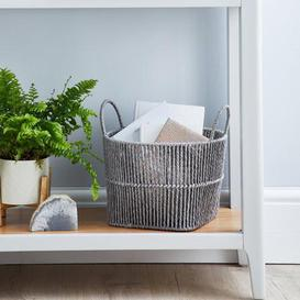 image-Small Grey Woven Storage Basket Grey