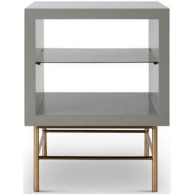 image-Gillmore Space Alberto Grey Matt Lacquer and Brass Brushed Side Table