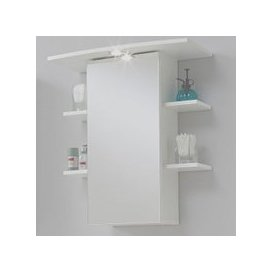 image-Madrid8 Mirrored Bathroom Wall Cabinet In White With Lights