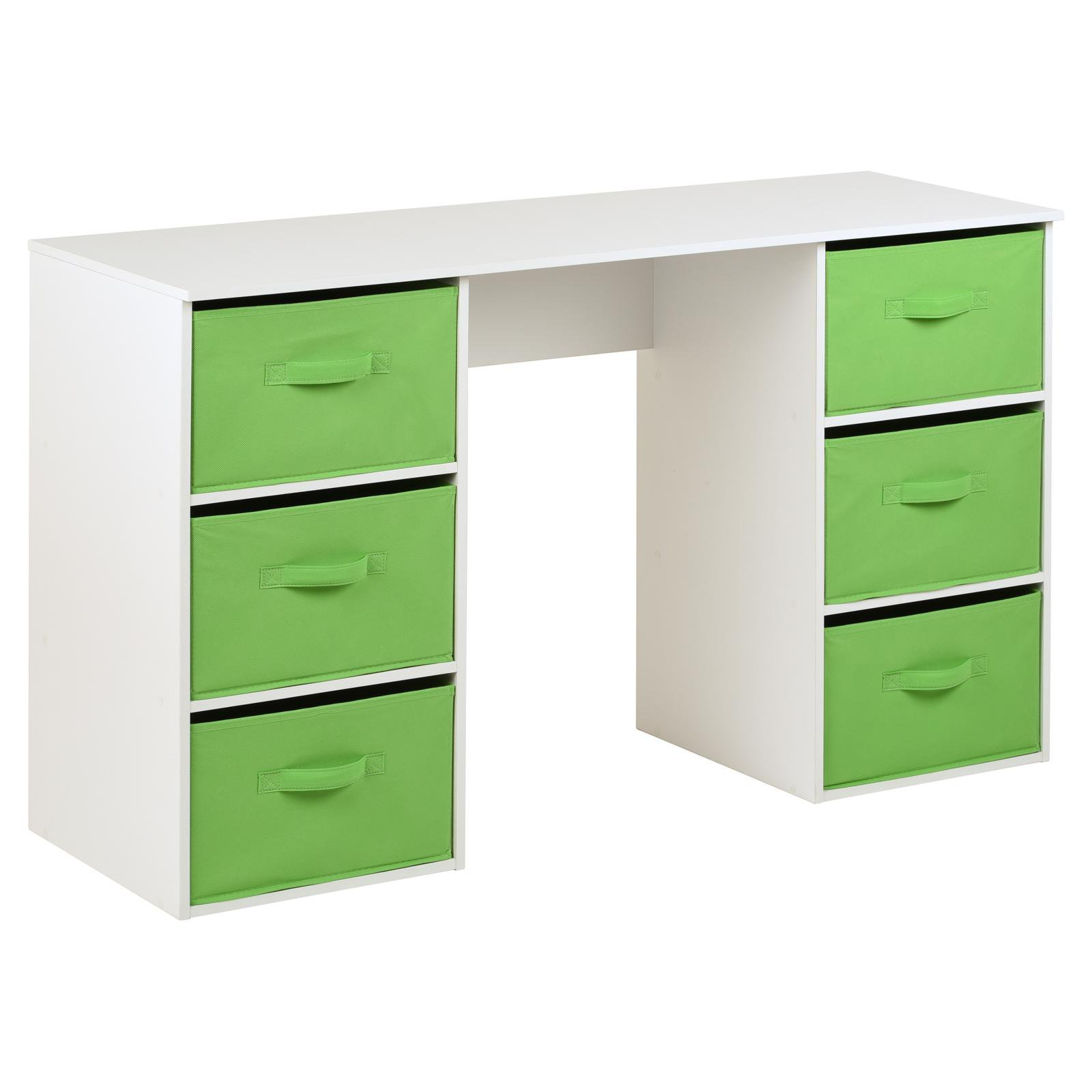 image-Hartleys Kids White Storage Desk & 6 Handled Box Drawers - Green