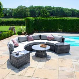 image-Maze Rattan Garden Furniture Grey Half Moon Sofa Set