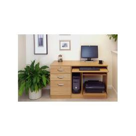 image-Small Office Desk Set With Computer Workstation & 3 Drawers (Classic Oak)
