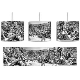 image-Frozen Lake Winter Landscape 1-Light Drum Pendant East Urban Home Shade colour: Black/White