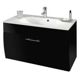 image-90cm Wall Mounted Vanity Unit with Storage Cabinet Belfry Bathroom Base Finish: Anthracite