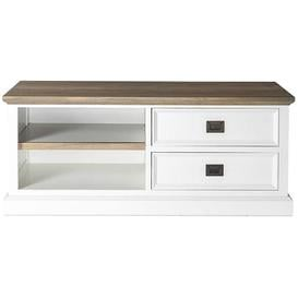 image-Cardiff Oak and Snow Painted 2 Drawer TV Unit