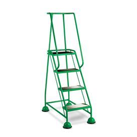 image-Mobile steps, anti-slip, 4 treads, H 1016 mm, green