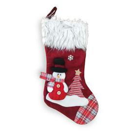 image-Snowman Christmas Stocking Red & Faux Fur 20 Inch