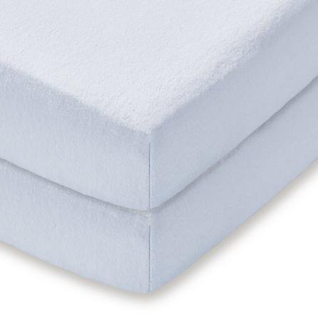 image-Pack of 2 Blue 100% Cotton Flannelette Cot Fitted Sheets Blue