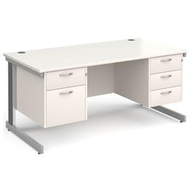 image-All White Deluxe Executive Desk 2+3 Drawers , 160wx80dx73h (cm)