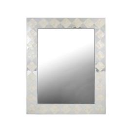 image-Diamond Rectangular Wall Mirror - White and Silver 85cm x 105cm