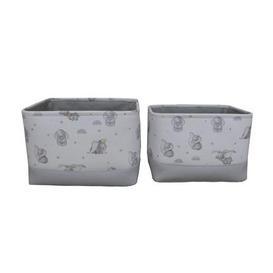 image-Disney Dumbo Twin Pack Soft Storage Basket Grey