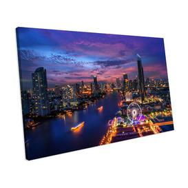 image-'Bangkok City Night Lights Skyline' Photograph on Canvas Mercury Row Size: 42 cm H x 52 cm W