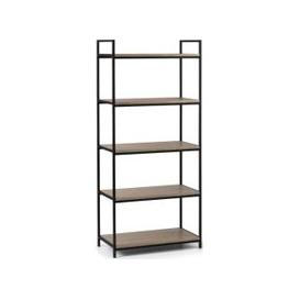 image-Julian Bowen Tribeca Sonoma Oak and Black Metal Tall Bookcase
