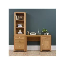 image-Chalford Oak Desk with Bookcase and Filing Cabinet