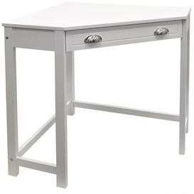 image-Corner Desk Three Posts Finish: White