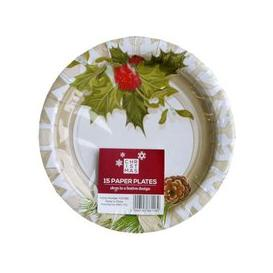 image-Small Christmas Paper Plates 15 Pack - Holly Design