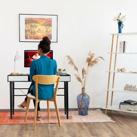image-Stanfill Writing Desk Mercury Row Tabletop/Frame colour: Black