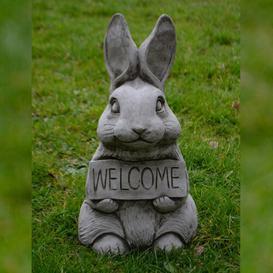 image-Longoria Welcome Bunny Stone Garden Statue Happy Larry