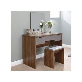 image-Jamestown Wooden Dressing Table Set In Walnut And Grey