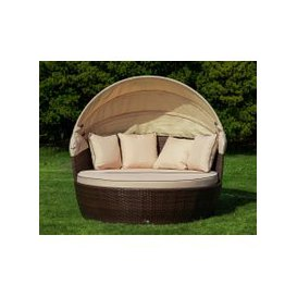image-Venice Rattan Garden Day Bed in Chocolate Mix and Coffee Cream