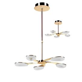 image-Mantra M8272 Juno LED 5 Light Telescopic Pendant/Semi Flush Ceiling Light In Satin Gold