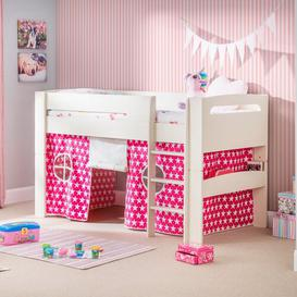 image-Agnes Single Mid Sleeper Bed Just Kids Colour (Bed Frame): Stone White, Colour (Fabric/Accessory): Pink, Mattress Included: No Mattress
