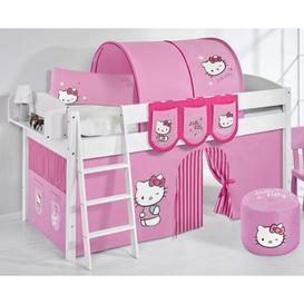 image-Lilla Children Bed In White With Kitty Pink Curtains