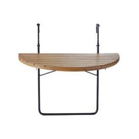image-Foldaway Solid Acacia and Black Metal Balcony Table L80 Calathea