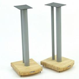 image-60cm Fixed Height Speaker Stand Symple Stuff Finish: Silver/Natural Bamboo