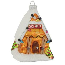 image-Ski Hut Christmas Hanging Figurine Ornament Krebs Glas Lauscha