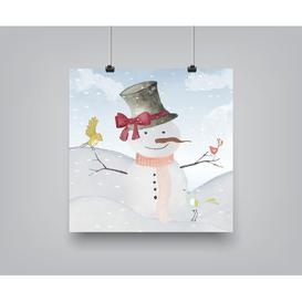 image-'Winter Snowman Birds Animal Christmas' by Grap My Art - Unframed Graphic Art Print on Paper East Urban Home Size: 46cm H x 46cm W x 0.25cm D