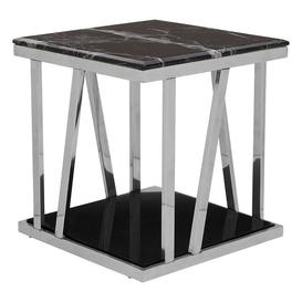 image-Ackley Silver Finish Metal Side Table With Black Marble Top