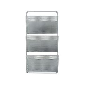 image-Light Grey Perforated Metal Magazine Rack