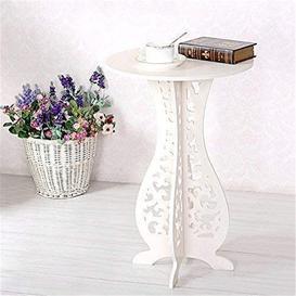 image-White Small Coffee Table Desk Wood Plastic Board Round Small Coffee Table Corner Table, Home Furniture Shelf Living Room-60X40x31cm