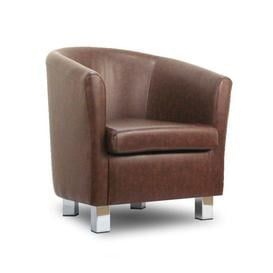 image-Small Leather Sofa Tub Chair Mahogony Chrome Legs