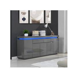 image-Odessa Large Sideboard 2 Drawer 5 Door Gloss Grey With LED
