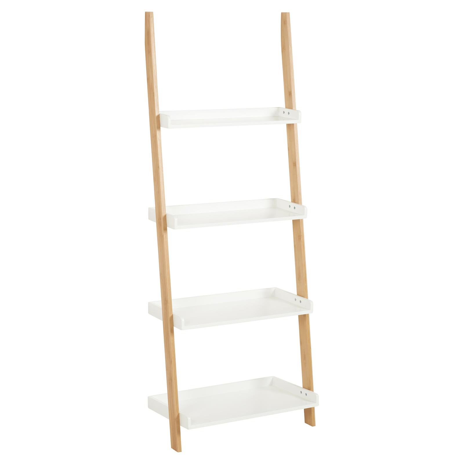 image-Hartleys White & Bamboo 4 Tier Wall Ladder Shelf