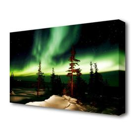 image-'NorThern Lights Green Landscape' Photographic Print on Canvas East Urban Home Size: 50.8 cm H x 81.3 cm W