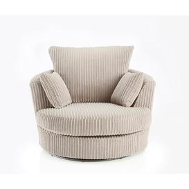 image-Champ Fabric Swivel Chair Cream