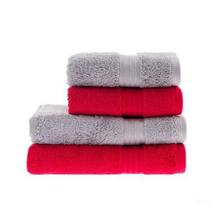 image-Red & Silver Egyptian Cotton 4 Piece Towel Bale Grey and Red