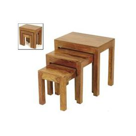image-Merino Wooden 3 Nest Of Tables In Shesham And Gloss Touch