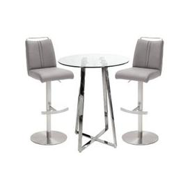 image-Poseur Glass Round Bar Table With 2 Giulia Ice Grey Bar Stools