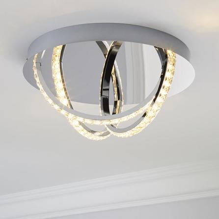 image-Serena 3 Light Integrated LED Hoops Flush Ceiling Fitting Silver