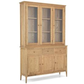 image-Wardle Wooden Large Display Cabinet In Crafted Solid Oak