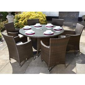 image-Royalcraft Garden Cannes Mocha Brown 6 Seat Round Dining Set